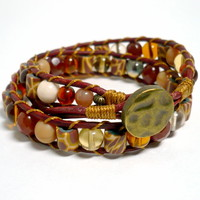 Tribal Giraffe and Czech Glass Double Leather Wrap Handmade Bracelet