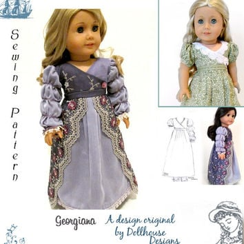 "Georgiana Regency Sewing Pattern by Dollhouse Designs for 18"" American Girl Dolls PDF  DIGITAL DOWNLOAD"