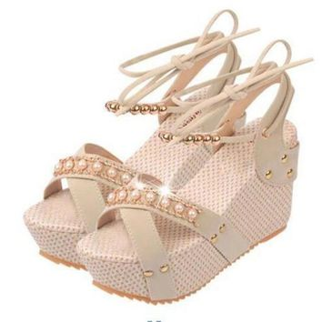 Metal Decoration  Comfortable Wedge Sandals