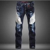 Men's Fashion Blue Slim Jeans [10766091075]