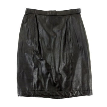 Leather Skirt - Black Pencil Mini Bodycon Minimal 90s High Waist Grunge Goth - Women's Size Small Extra Small Sm XS S