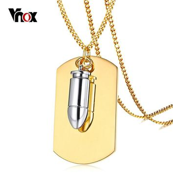 Vnox Free Engrave Soldiers Info Dog Tag Identification Pendant Necklace Punk Bullet Charm Necklaces Men Army Jewelry