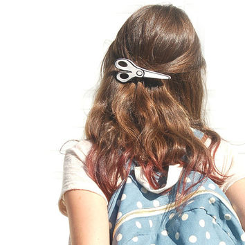 Hair Barrette, Hair Accessories. Scissor Barrette, School Barrette