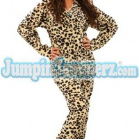 Snow Leopard - Drop Seat Hoodie - Pajamas Footie PJs Onesuit One Piece Adult Pajamas - JumpinJammerz.com