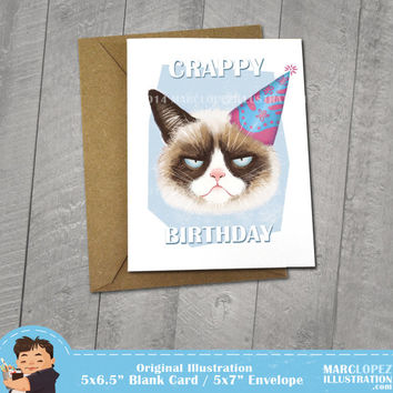 Grumpy Cat Birthday Card,  Approximately 5 x 7 Blank Card, Kraft Envelope, Funny meme Illustration, Tardar Sauce, Animal Drawing, Fun Gift