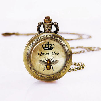 Queen Bee Pocket Watch ,Art pendant Necklace, Bee Charm ,Dome Glass,Entomology Honeybee Bumble Bee Diva Art Pendant