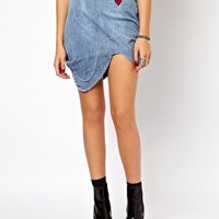 Vivienne Westwood Anglomania For Lee Animal Mini Skirt In Faded Blue at asos.com