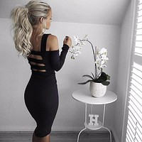 Women Ladies Long Sleeve Curve Dress Stretch Party Mini Fashion Women Dresses Bodycon Curved