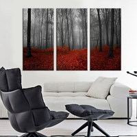 Canvas Large Art Print Dark Forest, Red Forest Large Wall Art Print, Extra Large 3 Panel Art Canvas Print, Ready to Hang, Streched