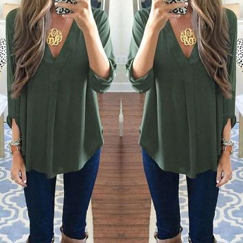 Lai Maternity V-neck Chiffon Blouse