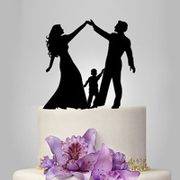 acrylic Wedding Cake Topper Silhouette, funny Wedding Cake Topper, Bride and Groom and little boy family wedding cake topper,