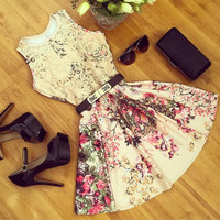 Floral Print Lace Patchwork Sleeveless Dress
