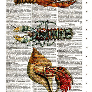 Lobster, Sea Life, Crustacean - Vintage Dictionary Art Print - Page Size 8.5x11