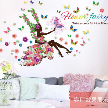 Fashion Modern DIY Decorative Mural PVC Girl Butterfly Bedroom Room Wall Sticker For Home Decor Removable Decal Wwallpaper SM6