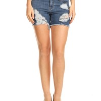 LE3NO Womens High Waisted Distressed Frayed Hem Denim Shorts with Pockets