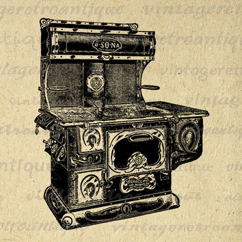 Printable Image Antique Stove Download Kitchen Illustration Graphic Digital Vintage Clip Art for Transfers etc HQ 300dpi No.1360