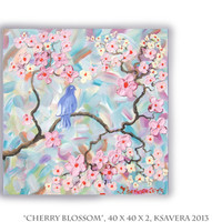SAKURA Acrylic impasto Painting Cherry Blossom love birds Tree of life Enchanted Forest KSAVERA Abstract Floral Art Pastel palette knife