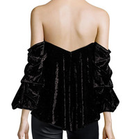 Caroline Constas Gabriella Off-the-Shoulder Velvet Bustier Top, Black