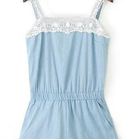 Delicate Lace-Trim Denim Rompers