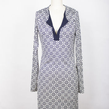 DVF REINA  SILK JERSEY TUNIC DRESS - BALI LACE MIDNIGHT/ MIDNIGHT