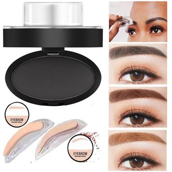 1PC High Quality 2017 New 3 options Professional Natural Eyebrow Stamp Beauty Makeup Tool with EyeBrow Powder seal