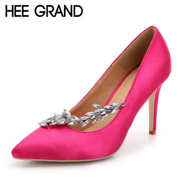 HEE GRAND Bling Rhinestone Wedding Shoes Woman Pointed Toe Crystal Thin High Heels Platform Sexy Pumps Shoes Size 35-43 XWD2699