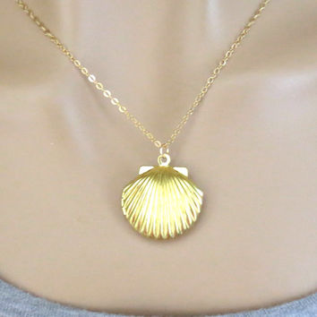 Seashell, Locket, Mermaid, Locket, Necklace, Simple, Modern, Locket, Gold, Jewelry, Gift, Birthday, Christmas, Gift, Jewelry For Her