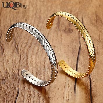 Famous Desginer Good Quality Stainless Steel Wheat Cuff Bangle Beautiful Women Bangles Bracelets Free Shipping