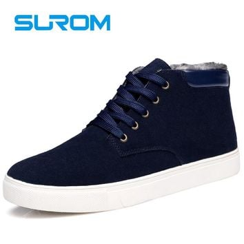 SUROM Men's Boots Winter Leather Casual Shoes 2017 New Warm Male Footwear Unisex Ankle Snow Boots men