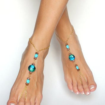 Bohemian Barefoot Sandals in Gold Brown and Aqua / Turquoise