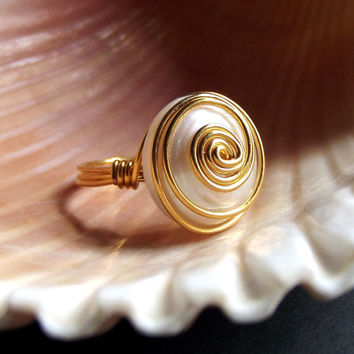 Cream Freshwater Pearl Ring:  24K Gold Plated Swirl Spiral Ivory White Modern Contemporary Wedding Jewelry, Size 7.5