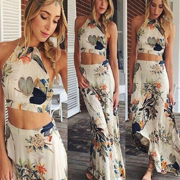 New Summer Fashion Style Print Women Maxi Sleeveless Dress Casual High Waist Fashion Long 2 Piece Dress [8425363079]