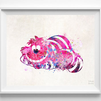 Cheshire Cat Print, Alice Wonderland Art, Disney Poster, Wedding Gift, Office  Decor