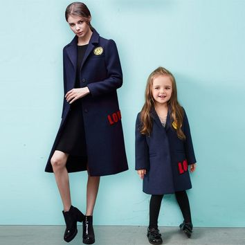 Mother and daughter clothes European and American patch mother women Smile in the long section of wool coat family clothing 20#