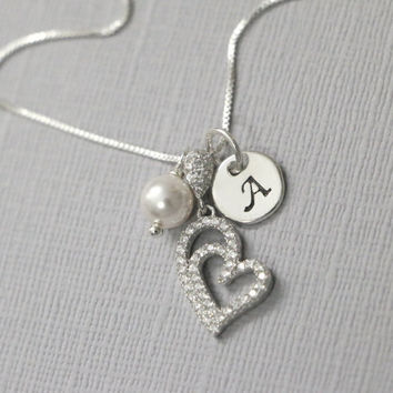 Heart Necklace, Sterling Silver CZ Heart Pendant Necklace, Sterling Silver Heart Necklace, Custom Initial Necklace