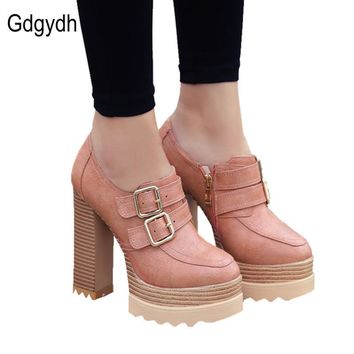 Gdgydh 2017 New Spring Autumn Thick High Heeled Pumps Woman Round Toe Lacing Female Pl