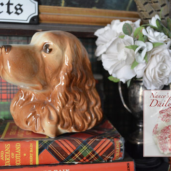 Vintage English Country Spaniel Head Dog Figurine Vase or Planter / Wall Pocket / Pen Holder