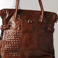 Love Stitch Kayla Woven Large Leather Handbag