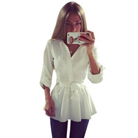Long Sleeve Tie Waist Shirt Women Blouses Tops White Blouse Cute 2015 Women Autumn Fashion Plus Size Bow Peplum Top = 5613036545
