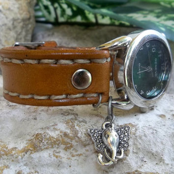 Womens leather watch cuff,  light brown leather wrist watch, women's leather cuff, watch bracelet