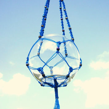 Blue beaded macrame hanger - iridescent aurora borealis beads, glass container included - air plant holder, candle holder