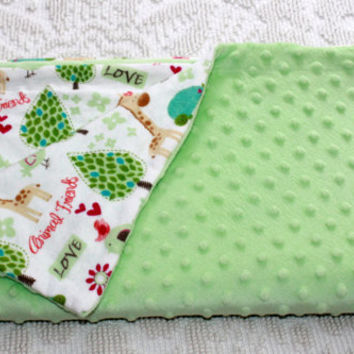 Minky Baby Blanket - Minky and Cotton Flannel - Animal Friends - Green