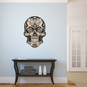 "Mexican Sugar Skull Wall Decal dia de los muertos Art Vinyl Wall Decal Graphics 28x39"" Home Decor"
