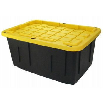 Shelves SH27GTOUGHBXB Black & Yellow Plastic Tote Tough Box w/ Flat Lid, 27 Gal