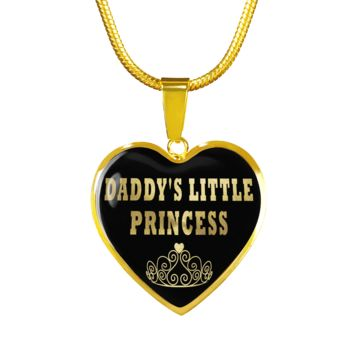 Daddy's little princess heart design luxury gold pendant necklace surgical steel