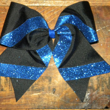 Cheer Bow- Black with sparkle- Change the colors to match your team