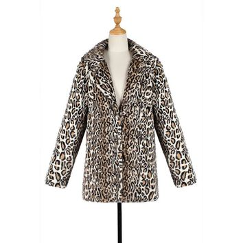 New Winter Casual Warm Faux Fur Longt Coat Fashion Leopard Print All-Matching Thick Faux Fur Mid-Length Coat For Women
