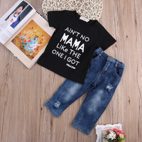 Newborn Toddler Kids Clothes Set Baby Boy Girls Short Sleeve T-shirt Top Tee + Denim Pants 2pcs Outfits Clothing Set