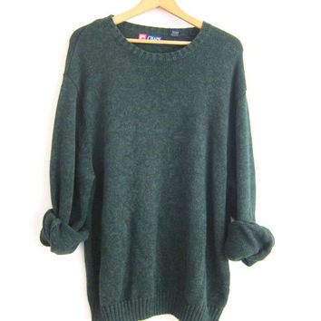 vintage dark green sweater. oversized slouchy pullover sweater. men's cotton sweater size XXL