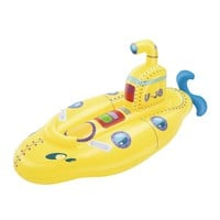 Inflatable Kids Unsinkable Yellow Submarine Rider Swimming Pool Float Water Fun Toys Ride-on Mattress Beach Game